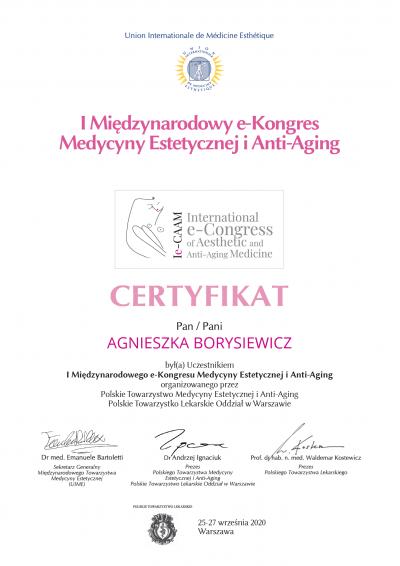 Certyfikat 2020.10.25 - I międzynarodowy e-kongres medycyny estetycznej i anti-aging