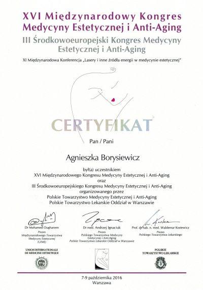 Certyfikat 2016.10.09 -Kongres Medycyny Estetycznej i Anti-Aging