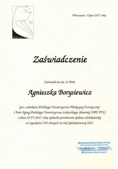 Certyfikat 2017.01.01 - Polskie Towarzystwo Medycyny Estetycznej i Anti-Aging