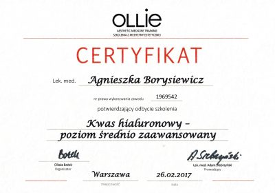 Certyfikat 2017.02.26 - Kwas hialuronowy poziom średnio zaawansowany