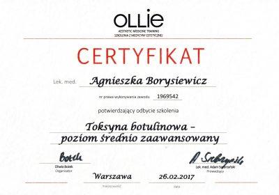 Certyfikat 2017.02.26 - Toksyna botulinowa poziom średnio zaawansowany