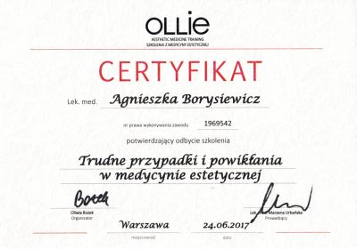 Certyfikat 2017.06.24 - Trudne przypadki i powikłania w medycynie estetycznej