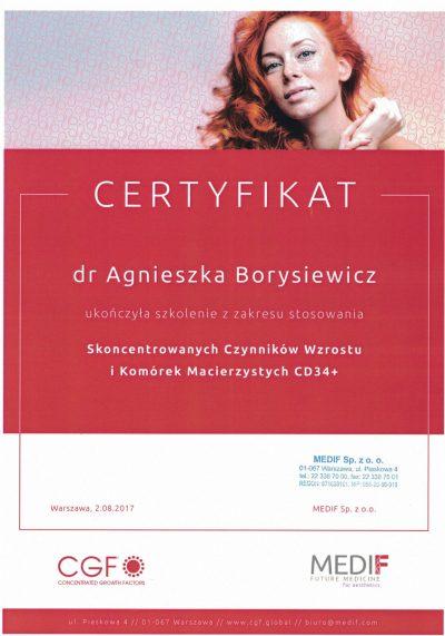 Certyfikat 2017.08.02 - Osocze bogatopłytkowe CGF