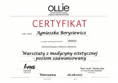Certyfikat 2017.08.26 - Warsztaty z medycyny estetycznej poziom zaawansowany