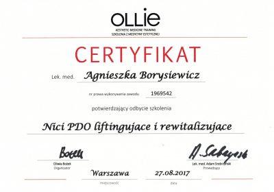 Certyfikat 2017.08.27 - Nici PDO liftingujące i rewitalizujące