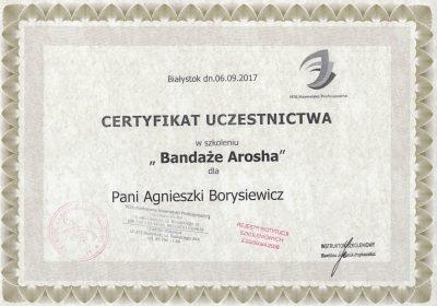 Certyfikat 2017.09.06 - Bandaże Arosha
