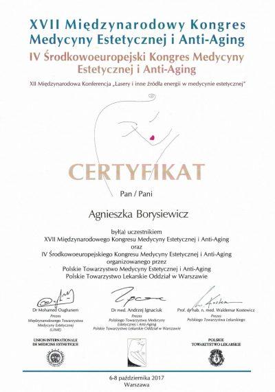 Certyfikat 2017.10.06 - Kongres Medycyny Estetycznej i Anti-Aging