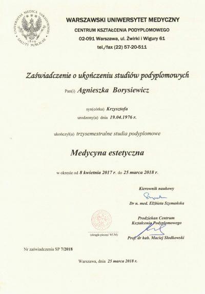 Certyfikat 2018.03.25 - Dyplom ukończenia studiów podyplomowych Medycyna Estetyczna