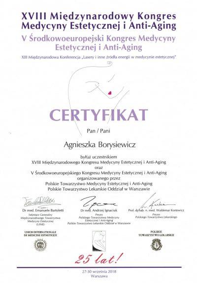 Certyfikat 2018.09.30 - Kongres Medycyny Estetycznej i Anti-Aging