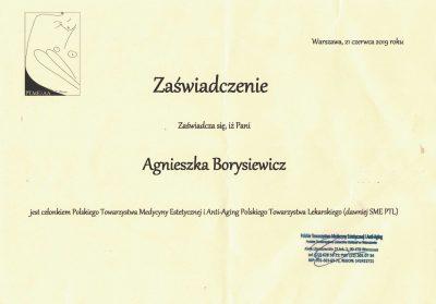 Certyfikat 2019.01.01 - Polskie Towarzystwo Medycyny Estetycznej i Anti-Aging