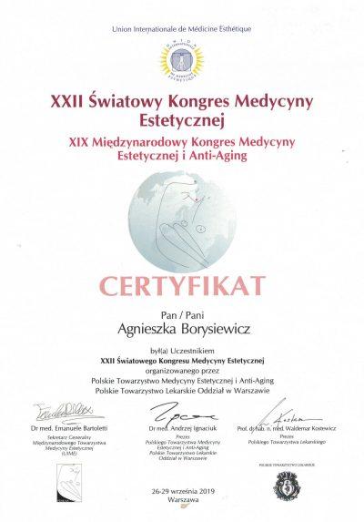 Certyfikat 2019.09.29 - Kongres Medycyny Estetycznej i Anti-Aging