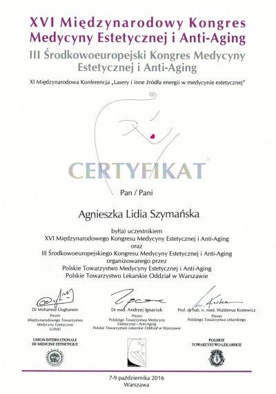 Certyfikat 2016.10.09 - Kongres Medycyny Estetycznej i Anti-Aging
