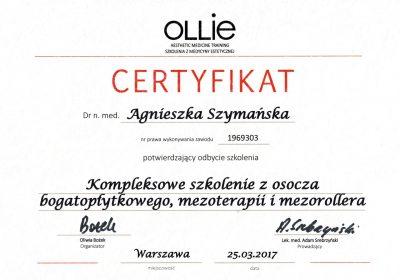 Certyfikat 2017.03.25 - Kompleksowe szkolenie z osocza bogatopłytkowego, mezoterapii i mezorollera