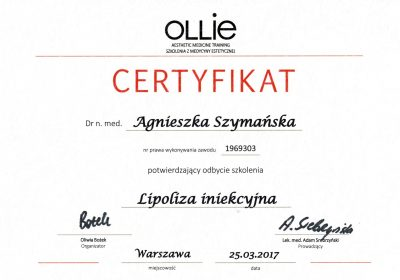 Certyfikat 2017.03.25 - Lipoliza iniekcyjna