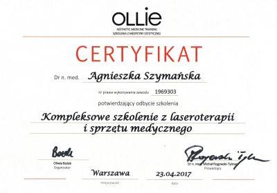 Certyfikat 2017.04.23 - Kompleksowe szkolenie z laseroterapii i sprzętu medycznego