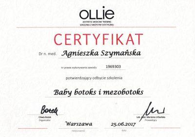 Certyfikat 2017.06.25 - Baby botoks i mezobotoks