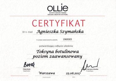 Certyfikat 2017.06.25 - Toksyna botulinowa poziom zaawansowany