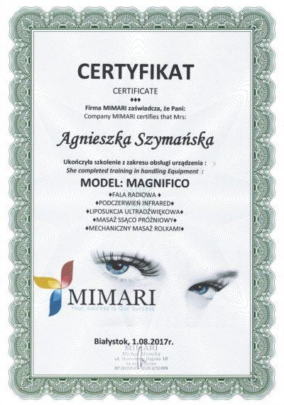 Certyfikat 2017.08.01 - Endermologia Magnifico