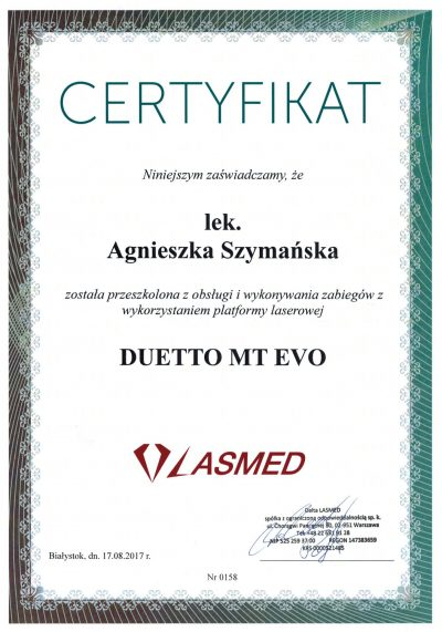 Certyfikat 2017.08.17 - Laser aleksandrytowy i Nd-YAG Duetto MT Evo