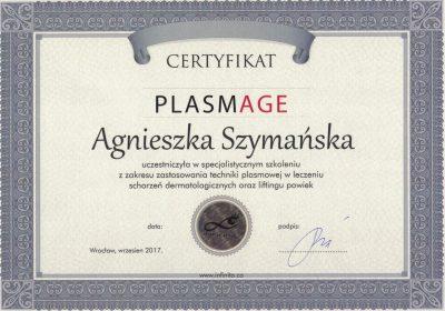 Certyfikat 2017.09.01 - Plazma medyczna Plasmage