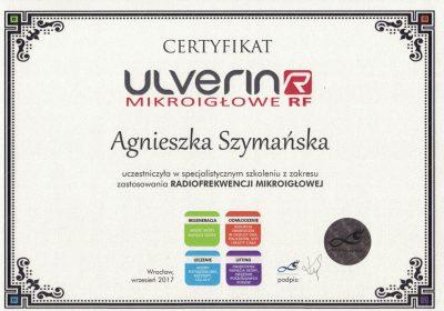Certyfikat 2017.09.01 - Radiofrekwencja mikroigłowa Ulverin R