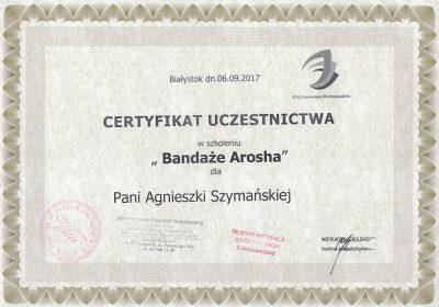 Certyfikat 2017.09.06 -Bandaże Arosha