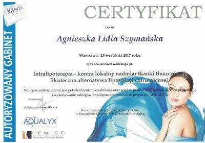 Certyfikat 2017.09.23 - Lipoliza iniekcyjna Aqualyx
