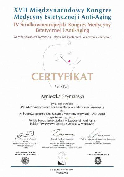 Certyfikat 2017.10.06 Kongres Medycyny Estetycznej i Anti-Aging