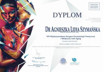 Certyfikat 2018.03.10 - Kongres Dermatologii Estetycznej i Medycyny Anti-Aging