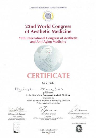 Certyfikat 2019.09.20 - Kongres Medycyny Estetycznej i Anti-Aging