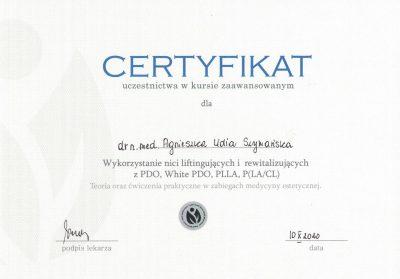 Certyfikat 2020.10.10 - nici liftingujące i rewitalizujące