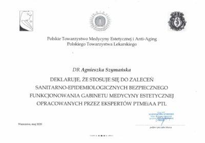 Certyfikat 2020.05.20 - Zalecenia PTMEiAA
